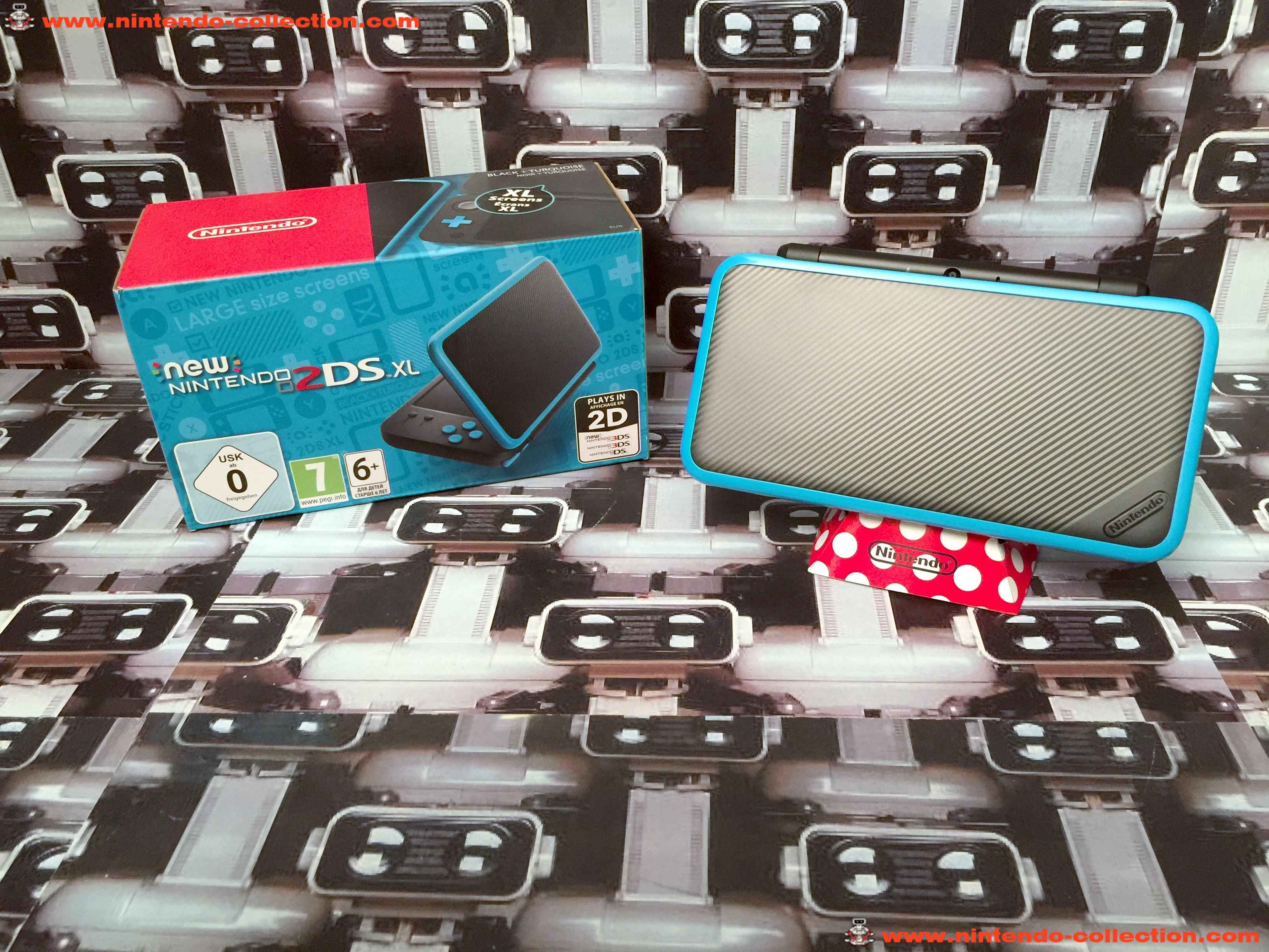 www.nintendo-collection.com - New Nintendo 2DS XL Black + Turquoise - Noir + Turquoise