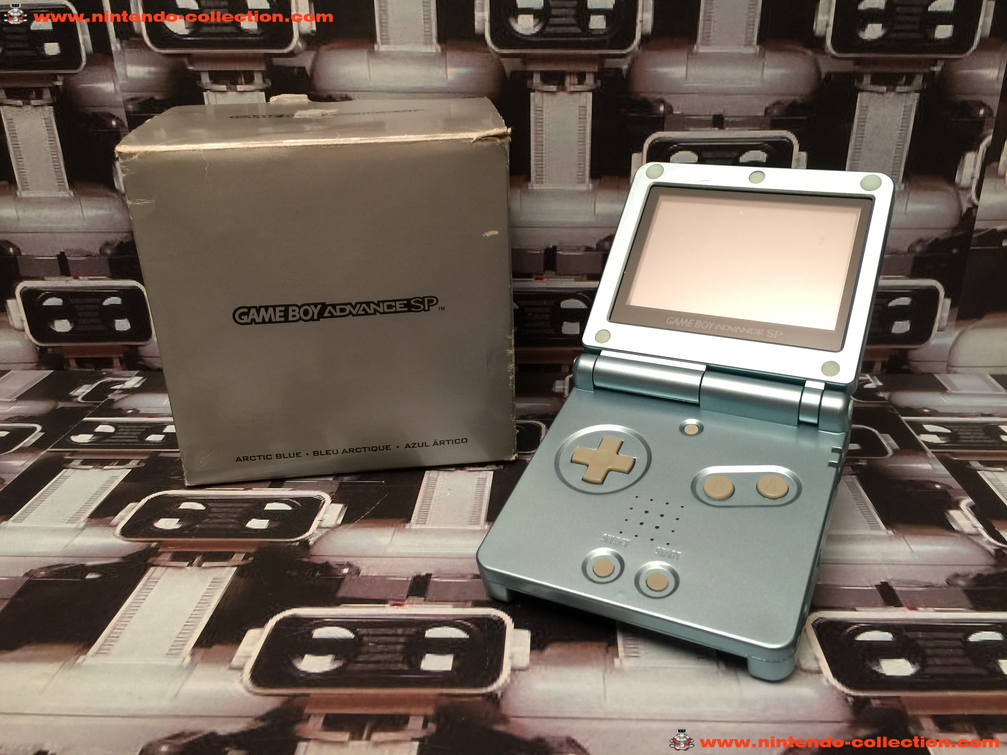 www.nintendo-collection.com - Gameboy Advance GBA SP Artic Blue Bleu Arctique Edition europeenne eur