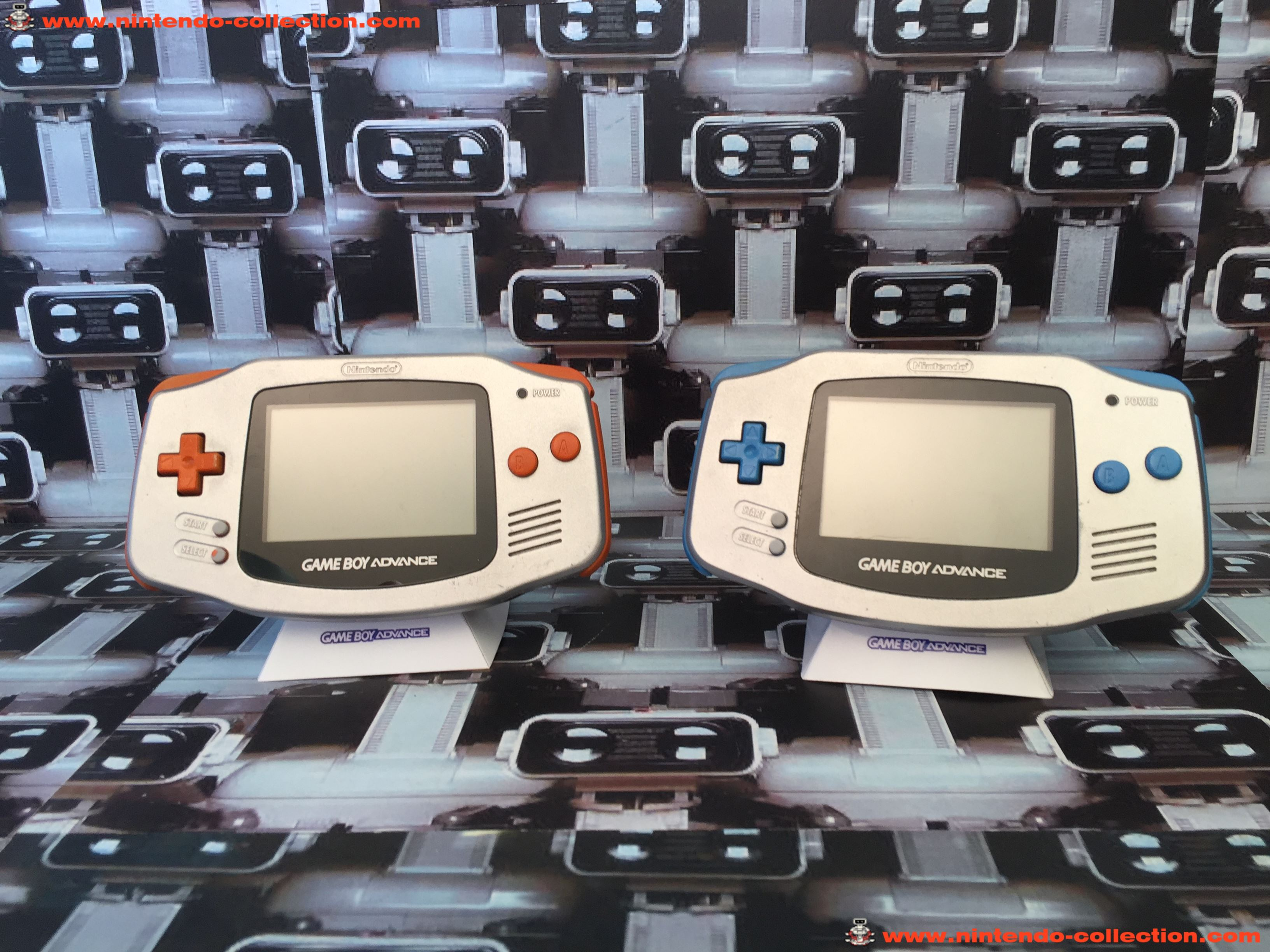 www.nintendo-collection.com - Gameboy Advance GBA Prototype Silver Orange silver blue