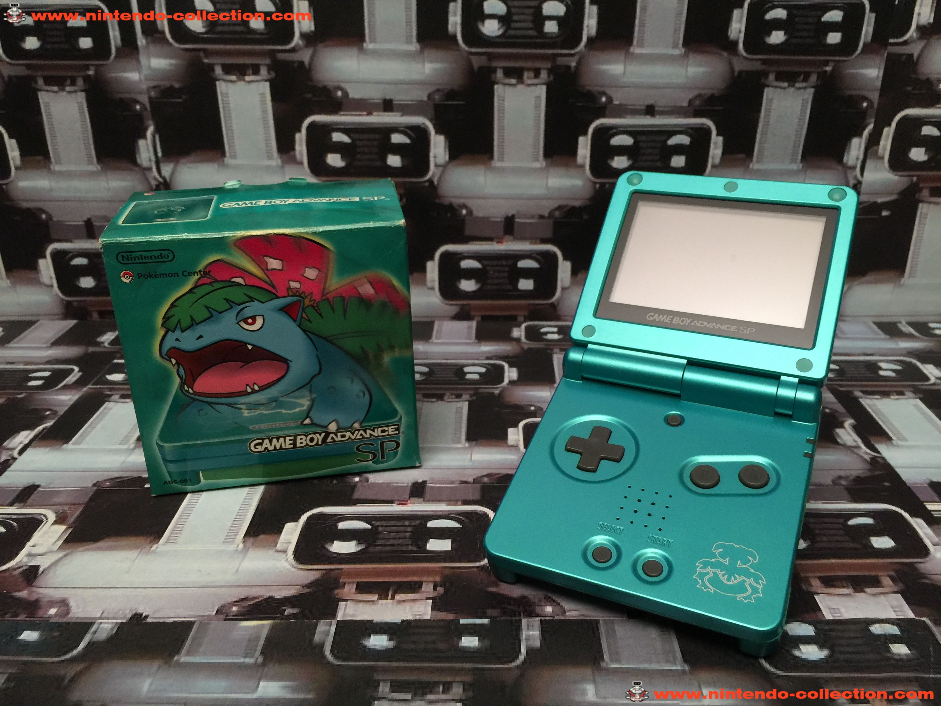 www.nintendo-collection.com - Gameboy Advance GBA SP Venusaur Leaf Green Bulbizarre Vert Feuille Lim