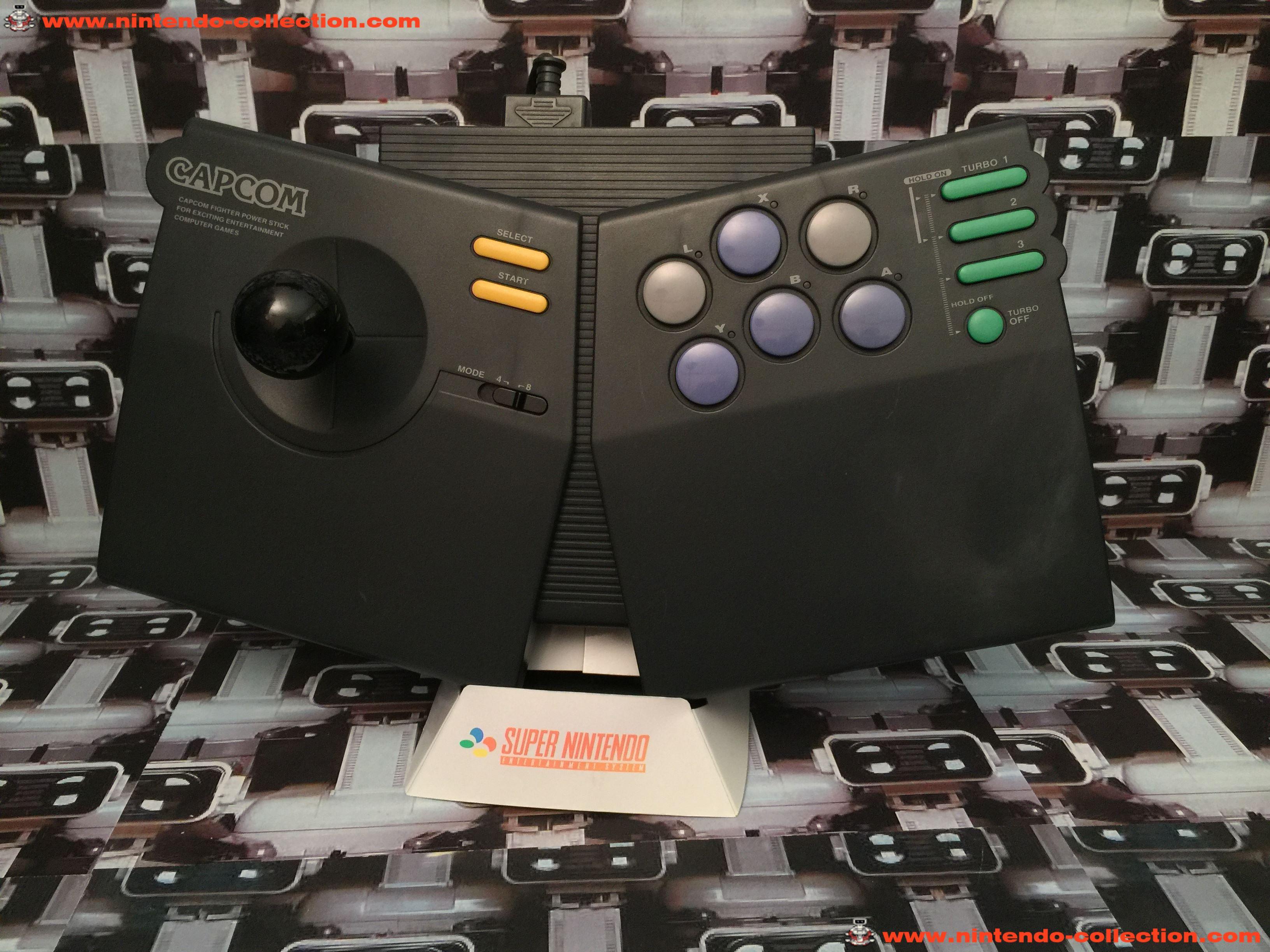 www.nintendo-collection.com - Super Nintendo SNES Capcom Fighter Power Stick Arcade Joystick Pad Man