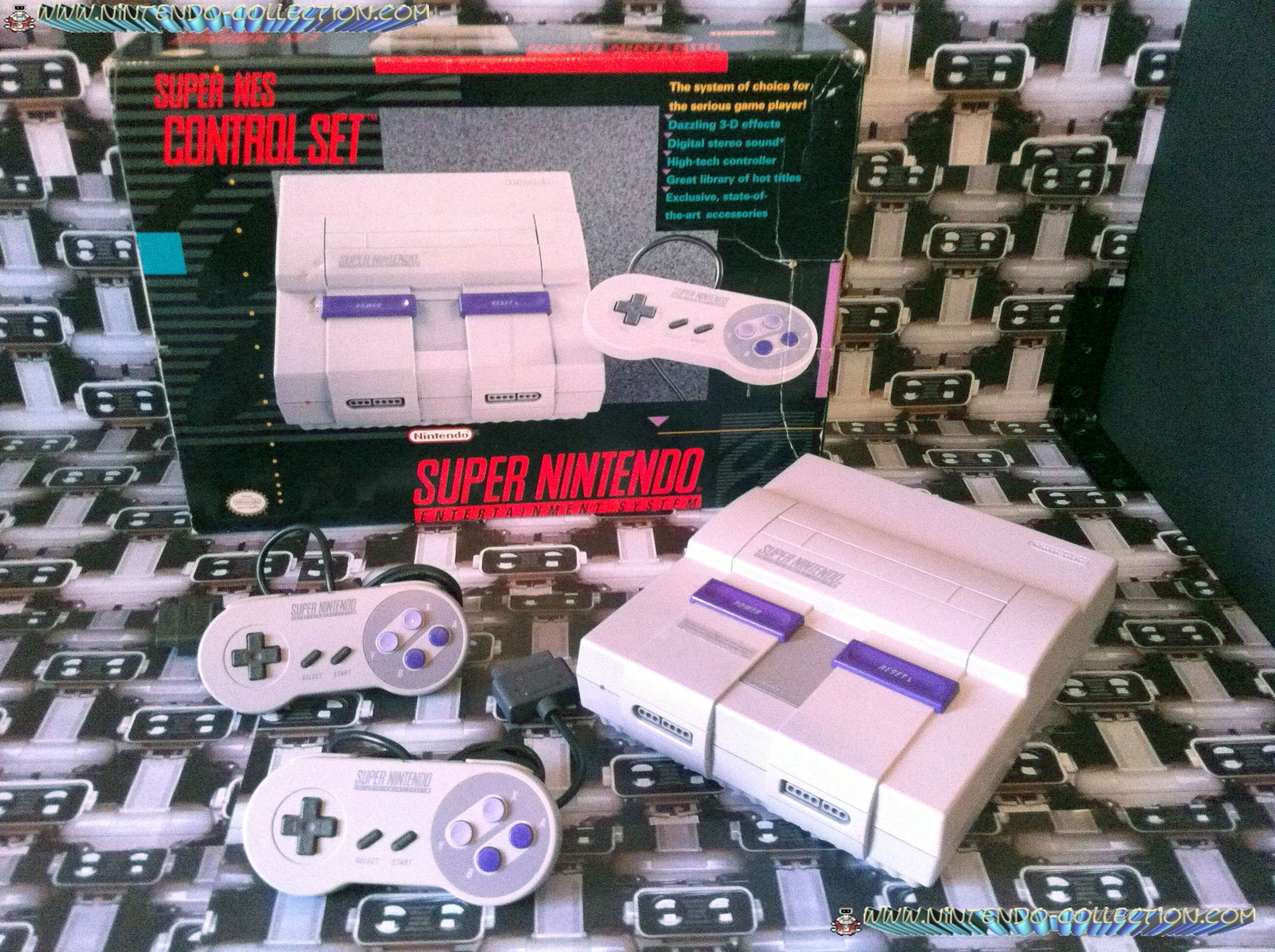 www.nintendo-collection.com - Super Nintendo Super Famicom Super Nes Pack Control Set Super NES US A