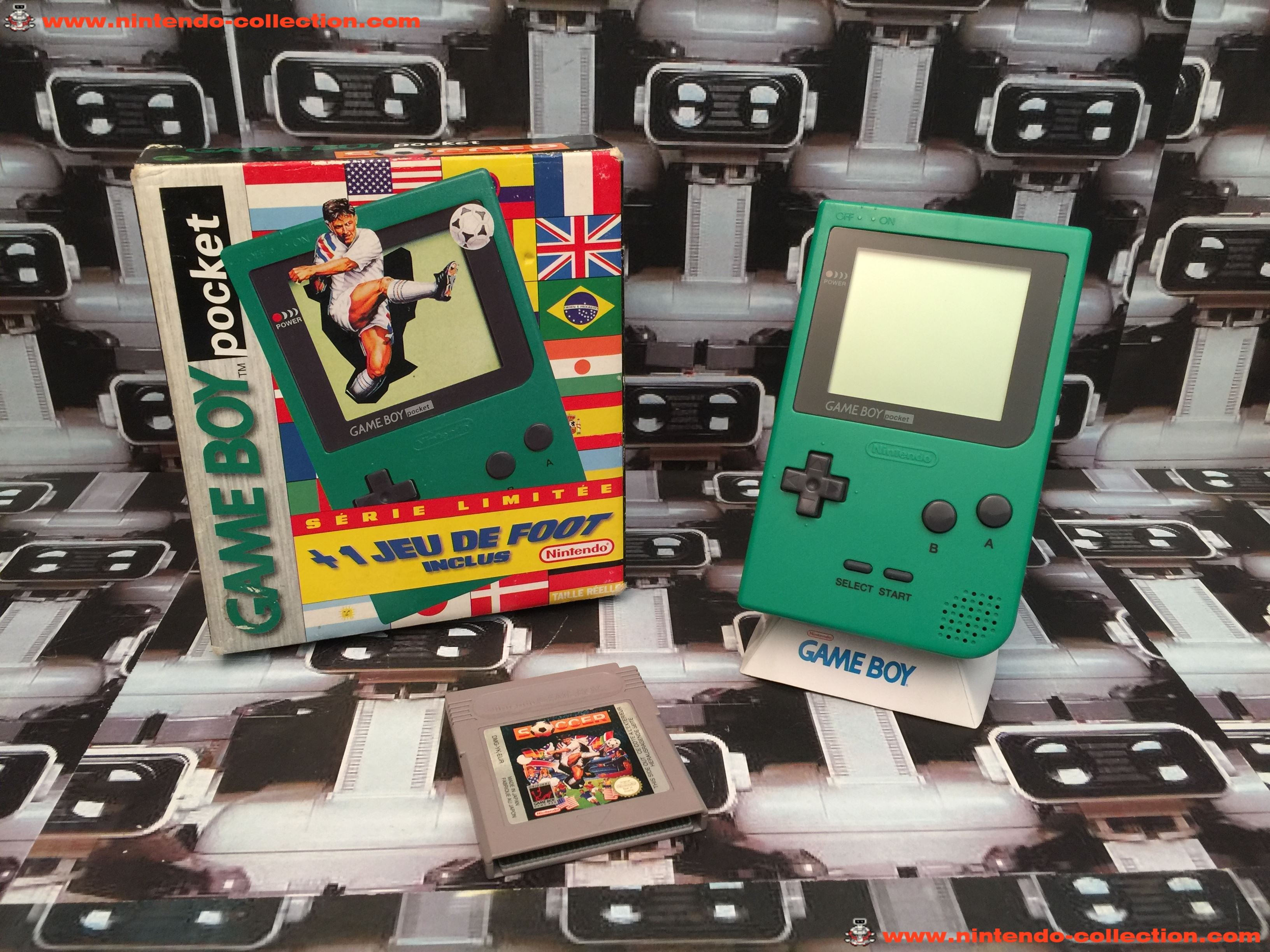 www.nintendo-collection.com - Gameboy GB Pocket Green Verte Limited edition Soccer Foot en boite in