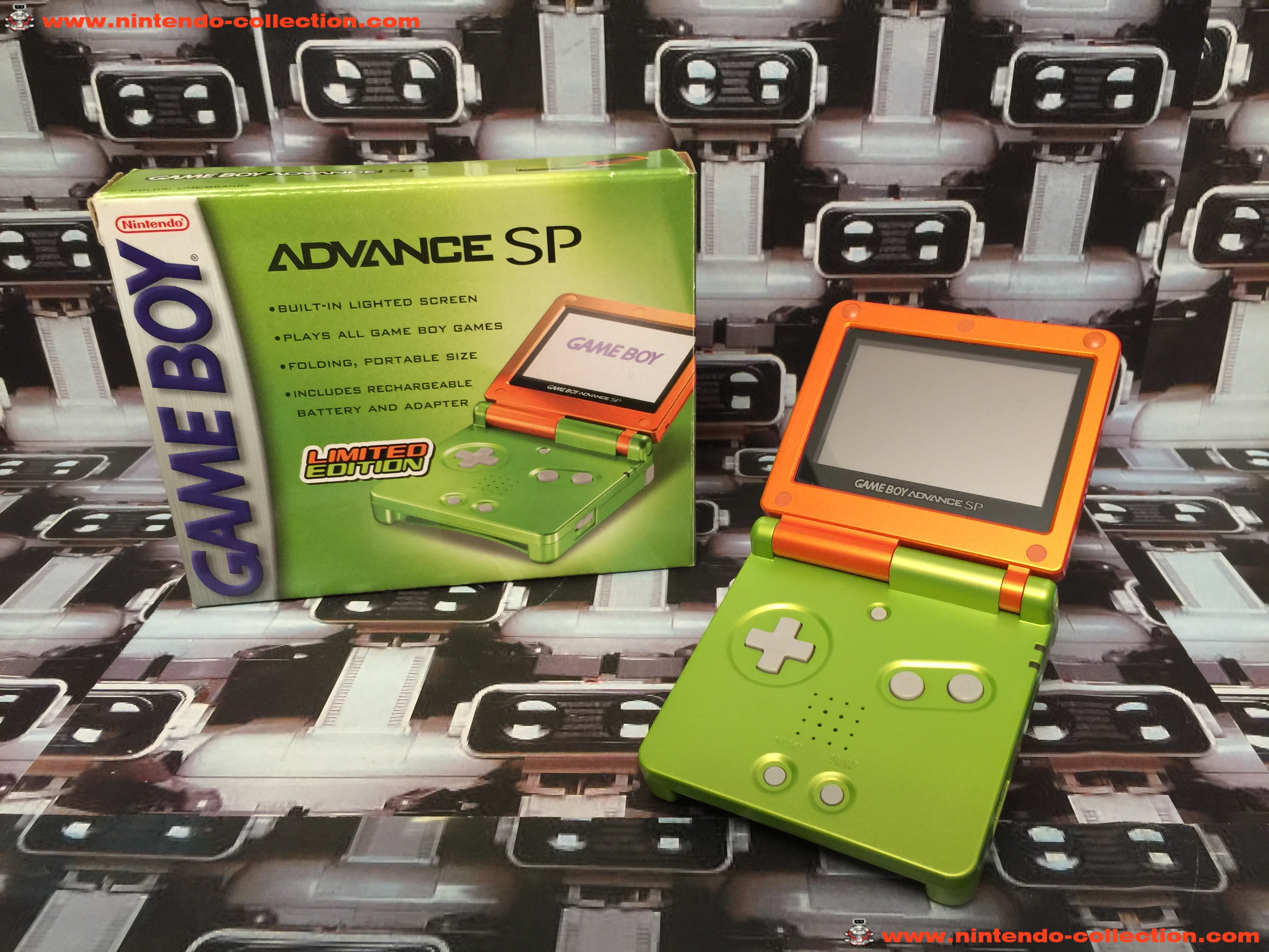www.nintendo-collection.com - Gameboy Advance GBA SP Lime Orange Limited Edition Vert Orange Green