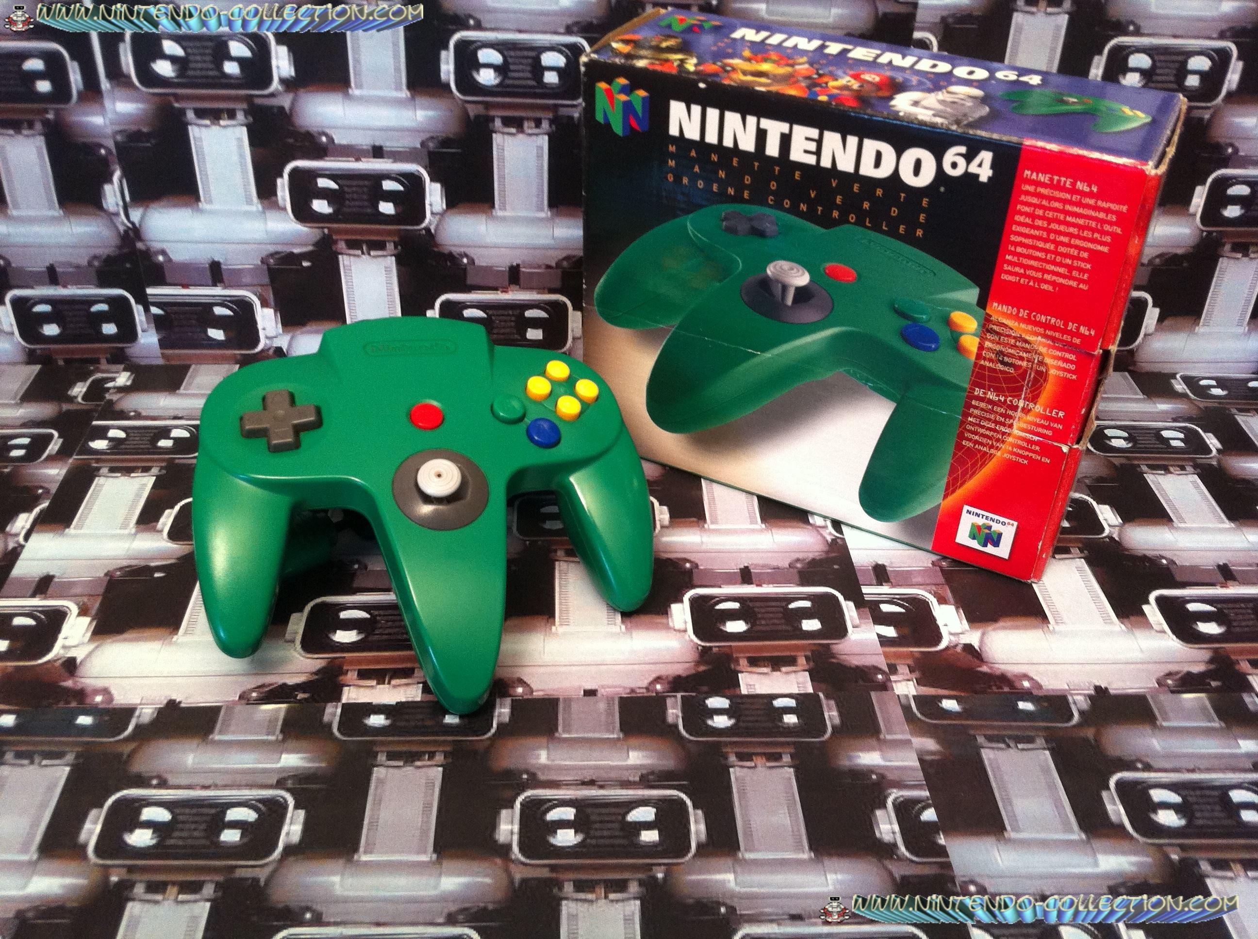 www.nintendo-collection.com  - Nintendo N64 Controller green in box - Manette  verte en boite