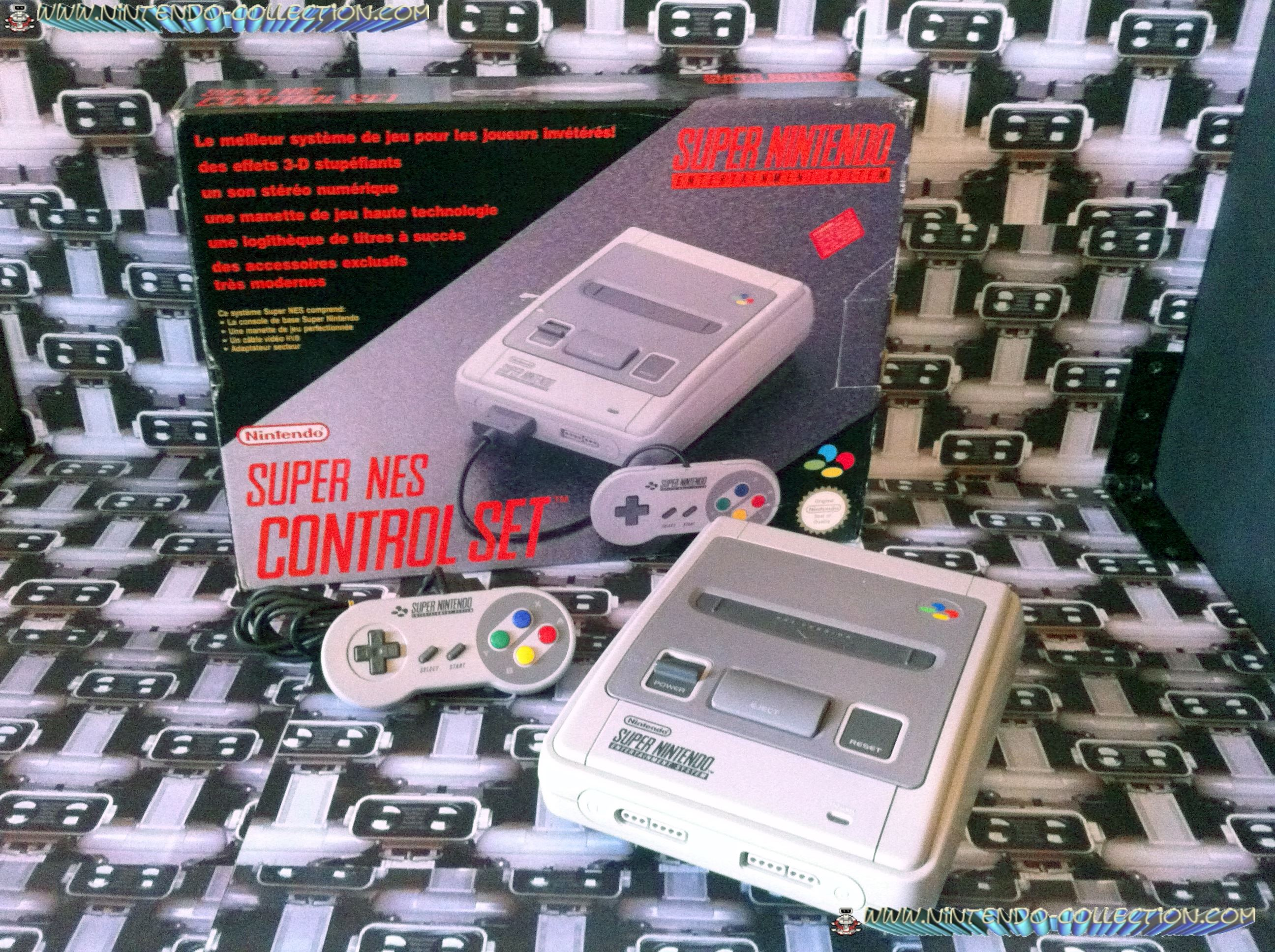 www.nintendo-collection.com - Super Nintendo Super Famicom Super Nes Pack Control Set