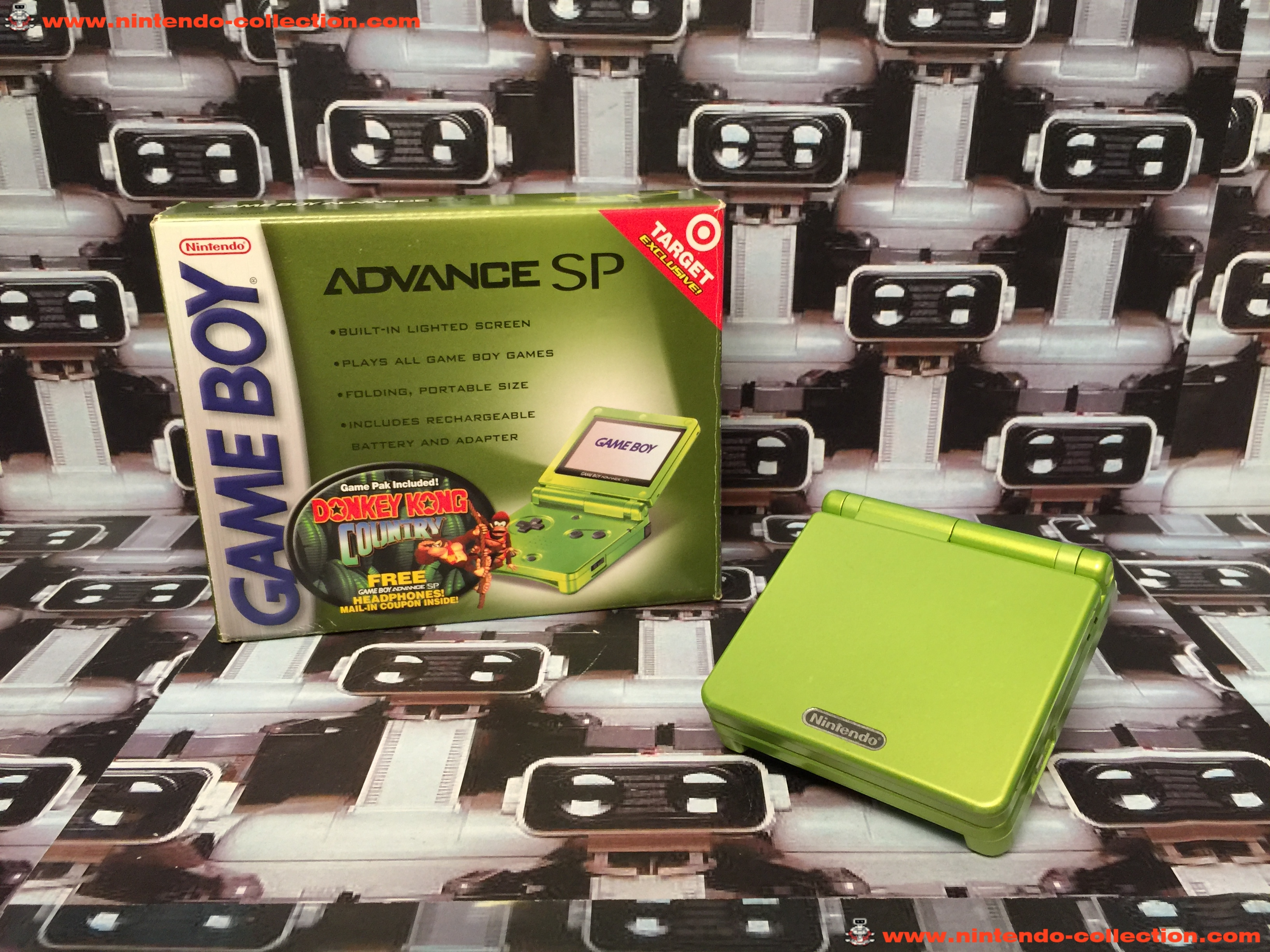 www.nintendo-collection.com - Gameboy Advance GBA SP Lime Limited Edition Vert Green Target exclusiv
