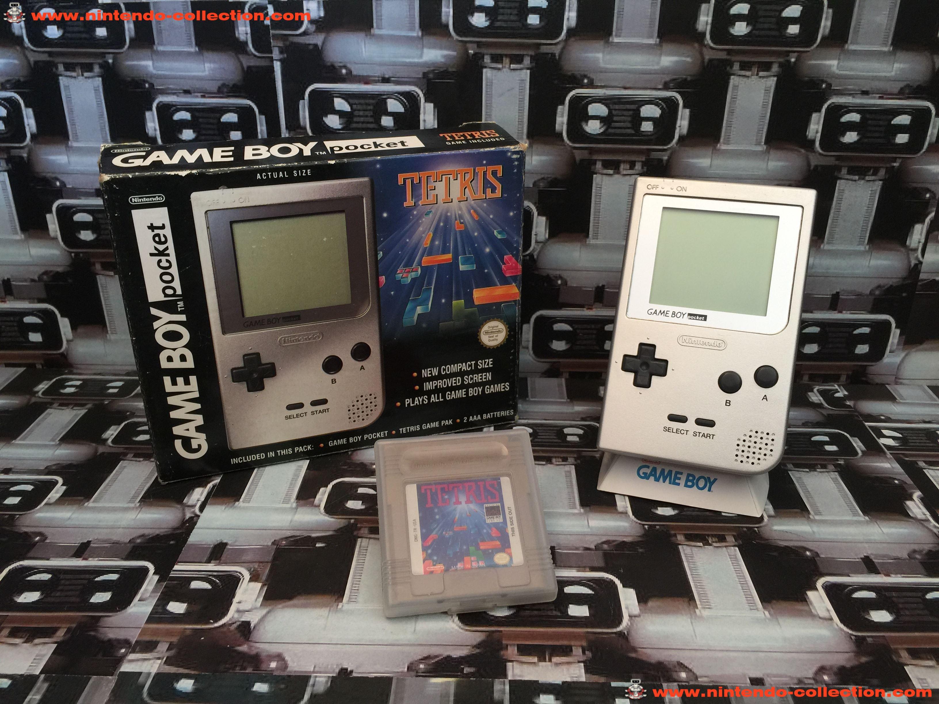 www.nintendo-collection.com - Gameboy GB Pack Tetris Silver Argent  ecran chrome no LED UK version u
