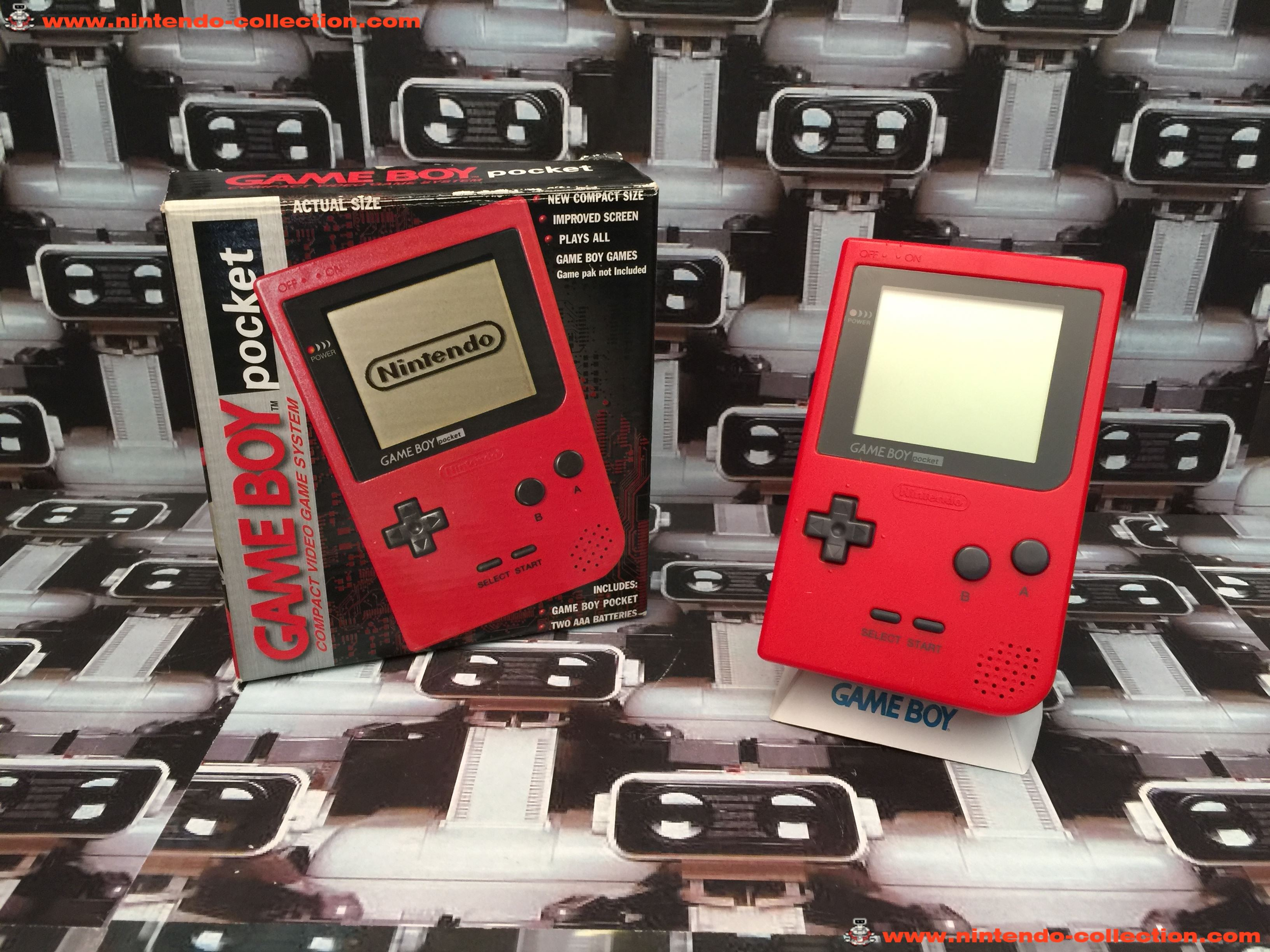 www.nintendo-collection.com - Gameboy GB Pocket Red Rouge en boite in box European Europe