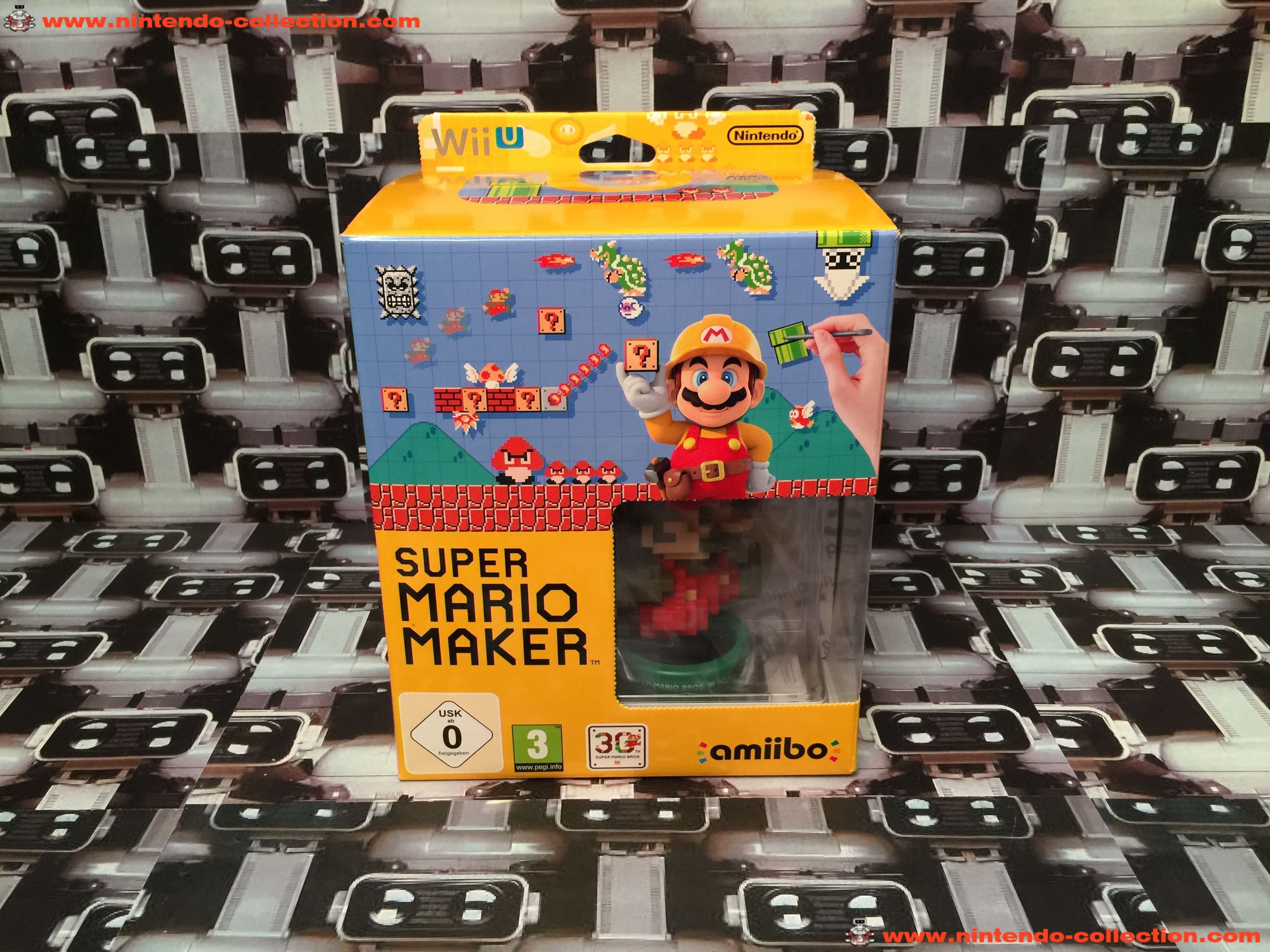 www.nintendo-collection.com - Wii U Game Jeux Super Mario Maker limited edition amiibo Mario 30th -