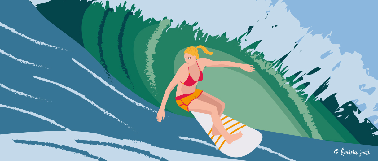 Learning to surf at 50 for CrunchyTales