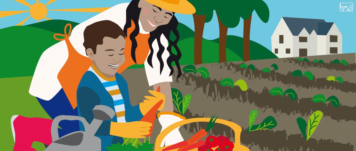 Gardening with children for CrunchyTales
