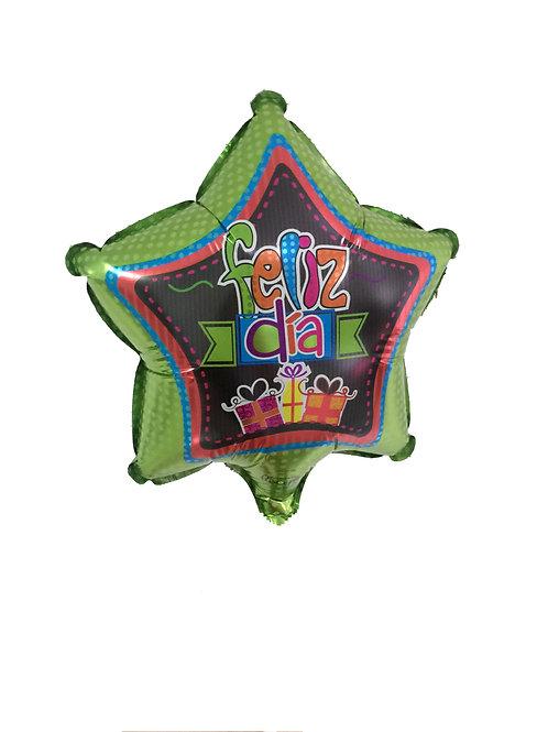 Feliz Dia Green balloon