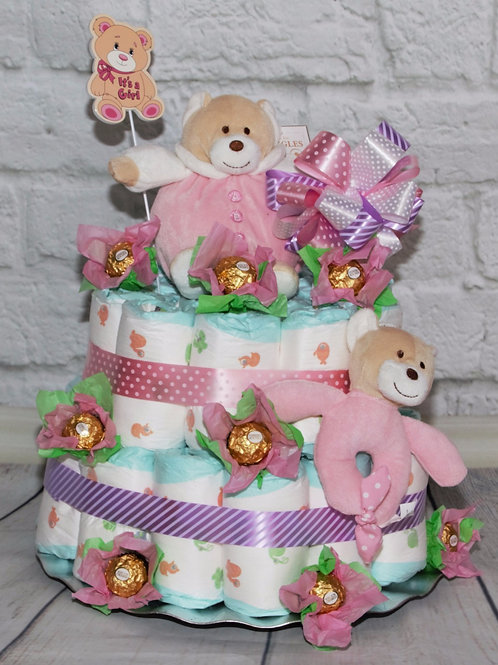2 Tier Nappy Cake - Pink or Blue