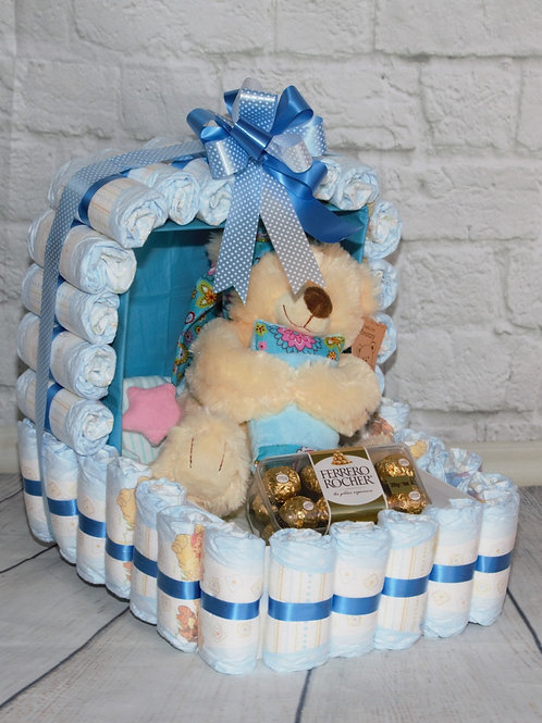 Nappy Cot - Blue, Pink, Yellow