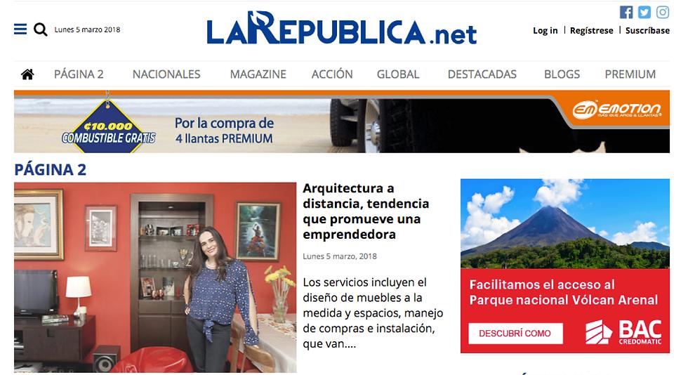 Artículo del periódico La Republica, Costa Rica