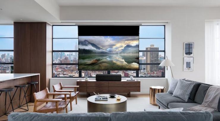 Cine en casa pantalla de proyector