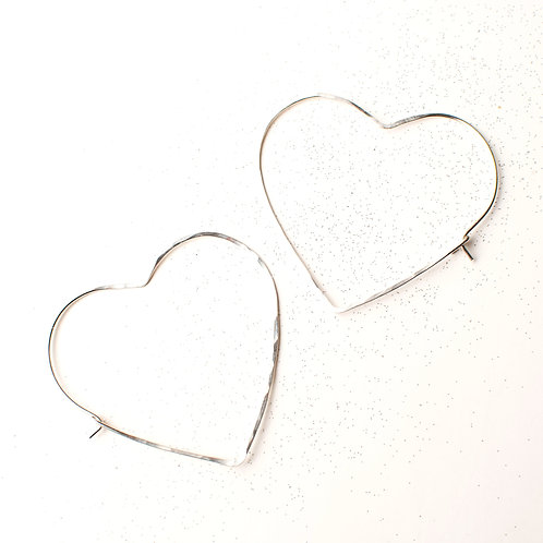 Sterling or Gold-Filled Heart Hoops