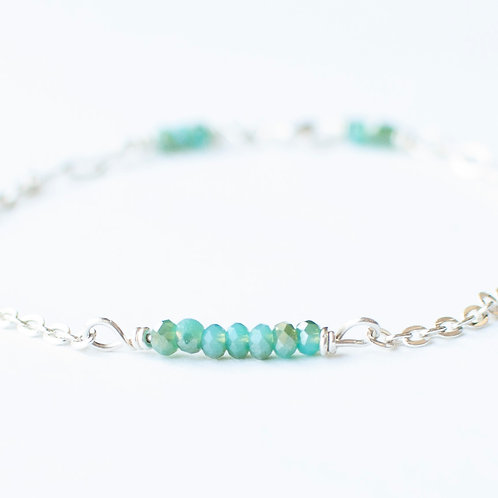 Sterling Aqua Beaded Bracelet - Size 7.8""
