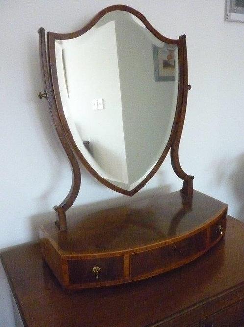 A Mahogany & Inlaid box Mirror with bow front