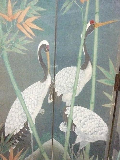 Crane & Bamboo Design Antique Silk Screen