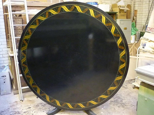 Black Lacquered Circular Dining Table