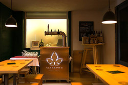 bar counter with beer tower
