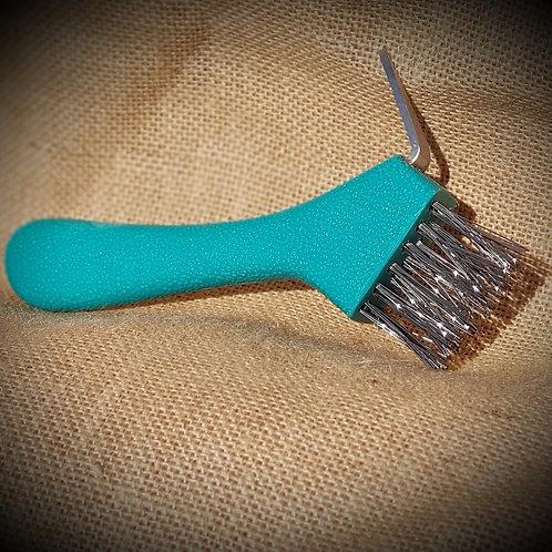 Jade Green Hoof Pick - Heavy Duty Wire Bristles