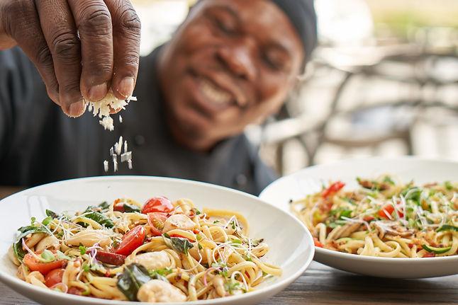 Calamari & Choriza Pasta, Zucchini & Mushroom Pasta.jpg
