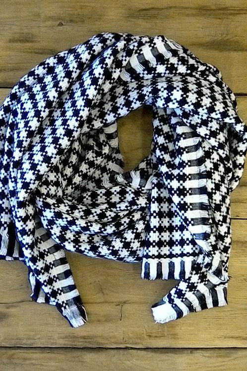 Sjaal zwart/wit