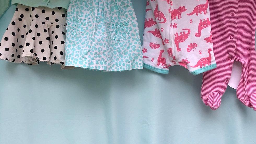 Size newborn, five pieces blue dress is pink pajamas