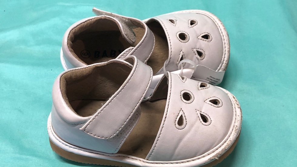 Little kid size 6, baby white squeak sandals needs squeaker replaced