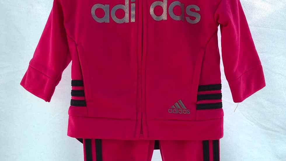 Three months pink Adidas tracksuit with jogger bottoms