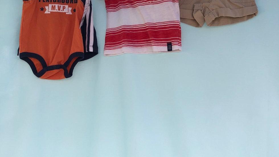 Size 3 months, four piece set, tan shorts brand new