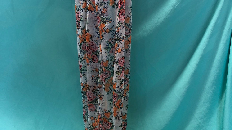Sheer scarf with pink and orange flowers