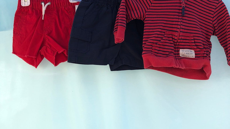 Size 6 months, two piece set, red brand new shorts