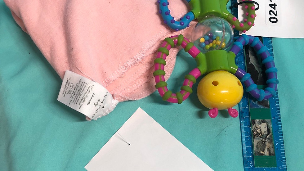 Butterfly rattle, pink receiving blanket