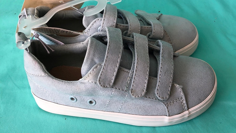 Little kid size 11, Old Navy low top three Velcro blue suede