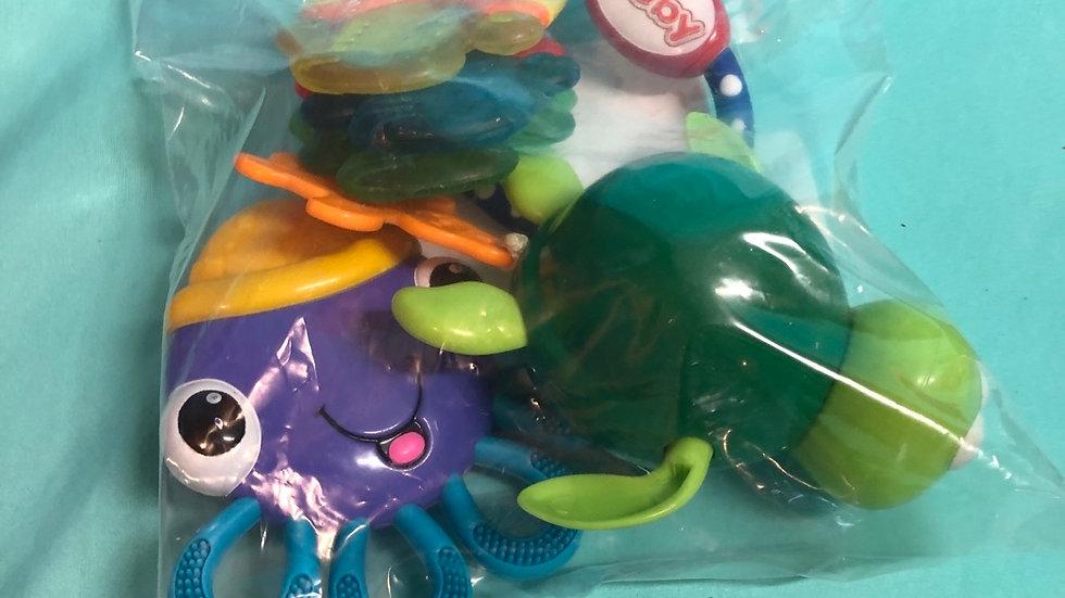 Teether octopus, teether keys, turtle for tub