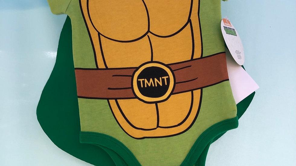 Size 0 to 6 months, teenage mutant ninja turtle onesie with cape, brand ne