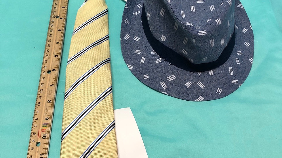 Size 5, yellow with blue stripes clip on necktie, and blue hat