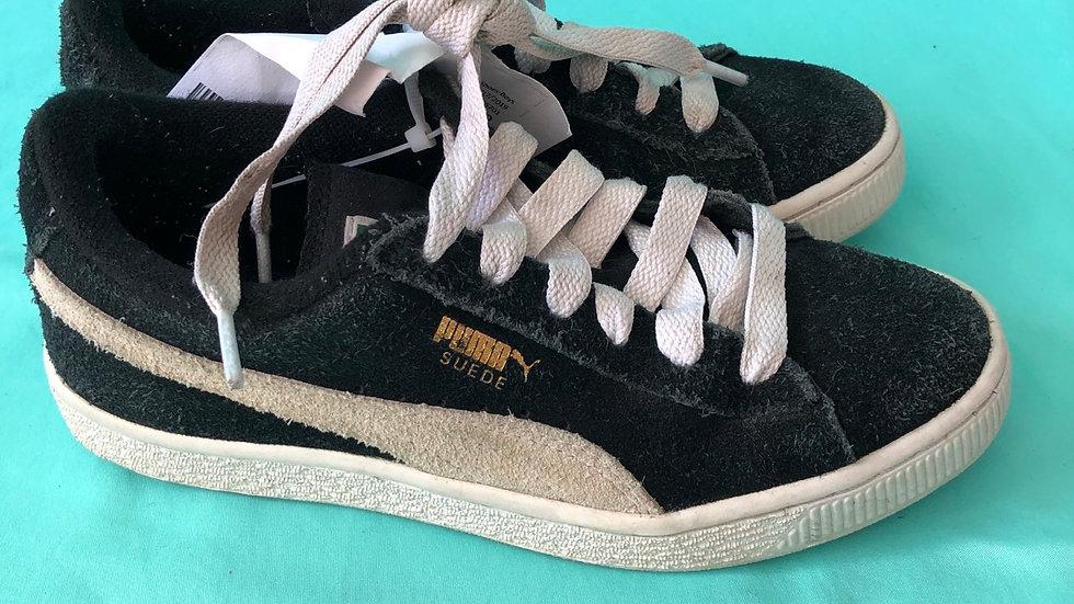 Big kid size 2, puma sneakers black and white