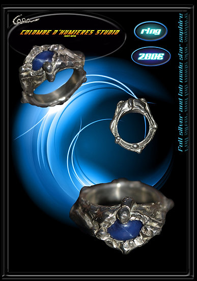 Silver ring with blue lab -made star saphire