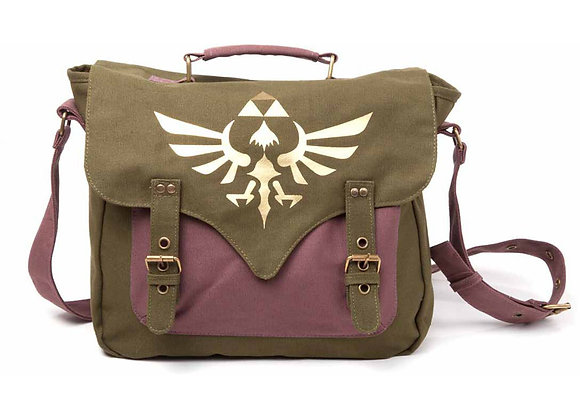 his spacious 100% canvas bag has a large golden Royal Crest on front flap which is attached to the bag by dual belt straps to