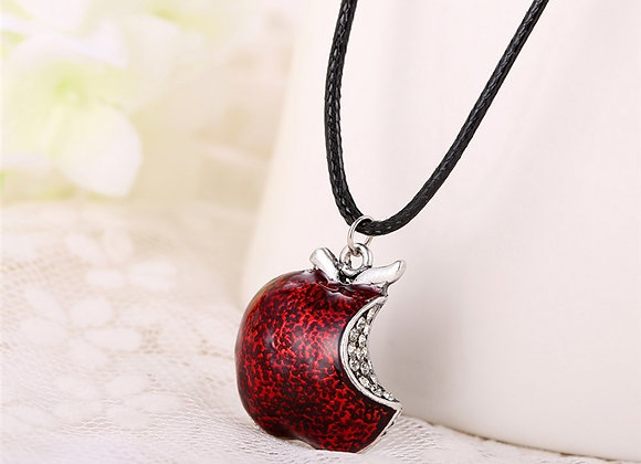 Once Upon A Time Apple Bite w/ Crystals Necklace