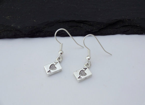 Ace Of Hearts Playing Card Earrings