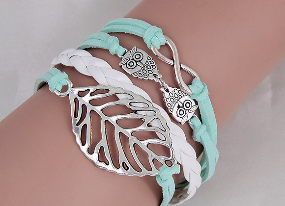 Harry Potter Mint & White Leather Bracelet With Owls and Leaf