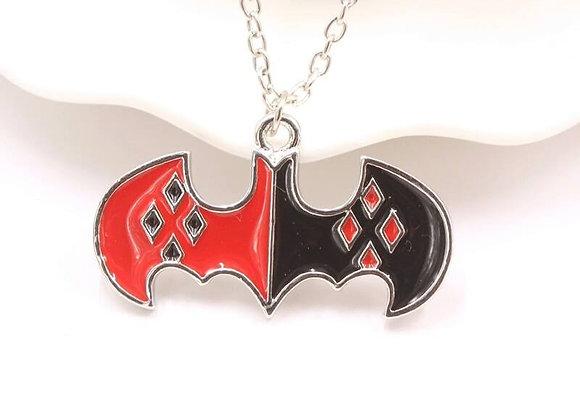 Harley Quinn Bat Logo Necklace
