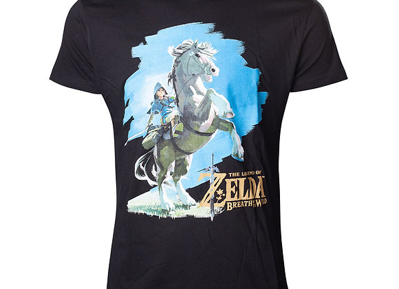 Legend of Zelda Breath of the Wild Link on His Horse Official Nintendo T-Shir