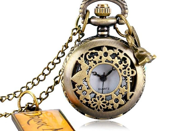 Alice In Wonderland Small Pocket Watch with charms